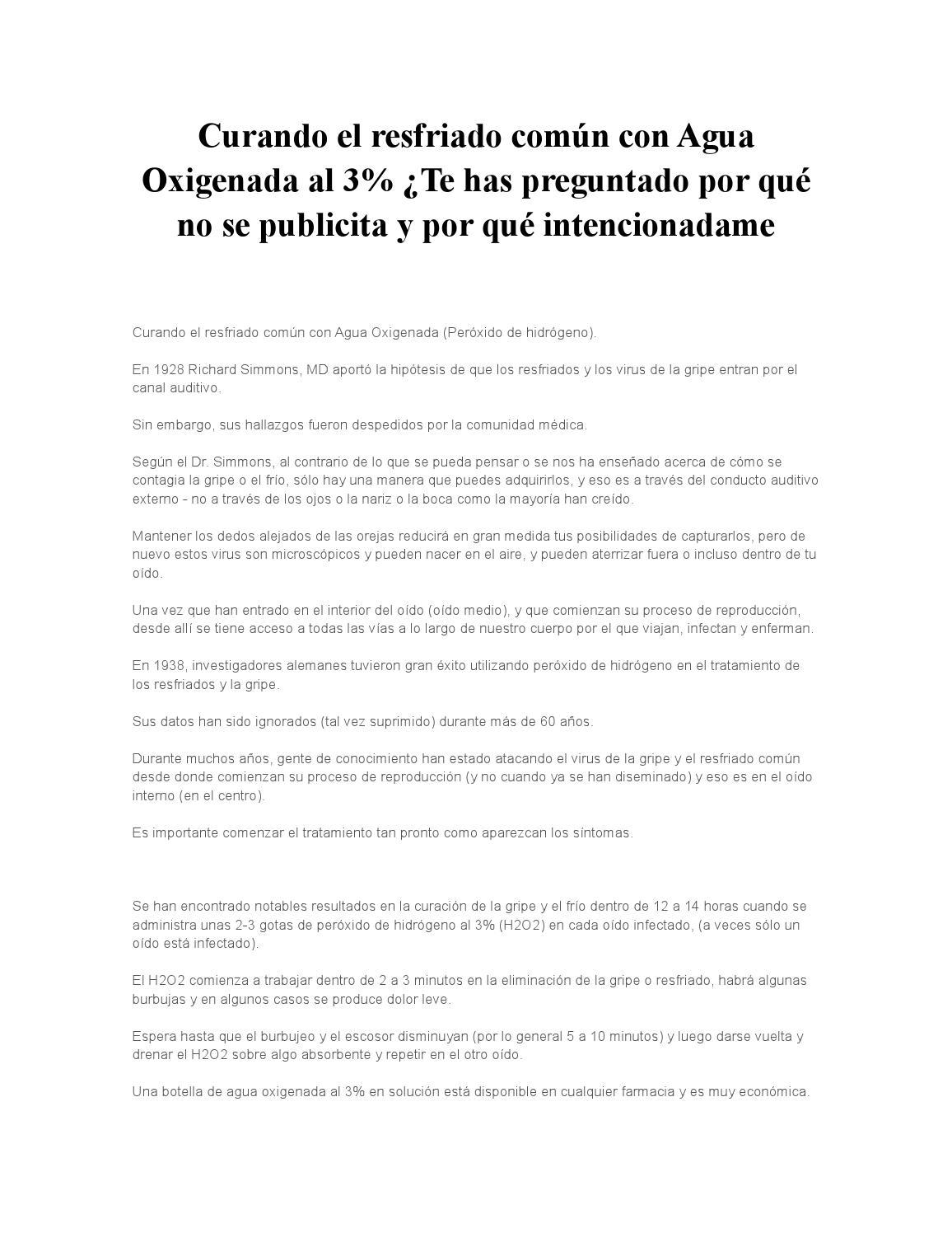 Curando El Resfriado Común Con Agua Oxigenada Al 3 By Jesus Ernesto Ludena Ruiz Issuu