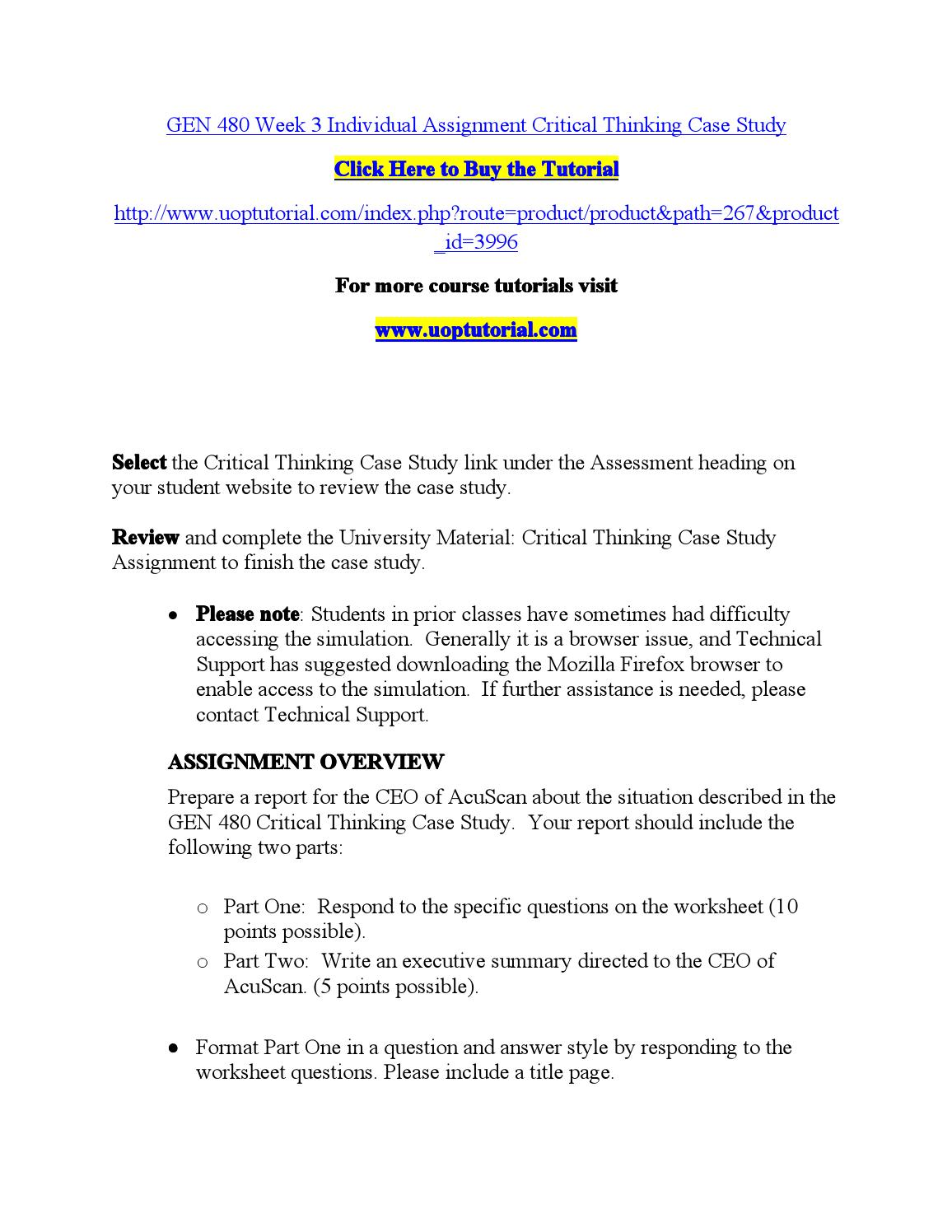 critical thinking case study acuscan