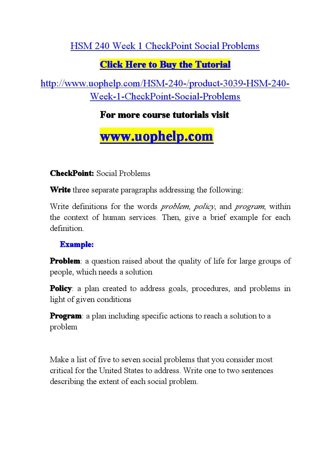 hsm 240 week 1 checkpoint social problems by mjjj773 - issuu