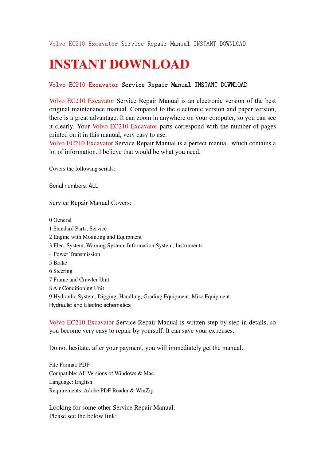 volvo ec210 excavator service repair manual instant download by rh issuu com