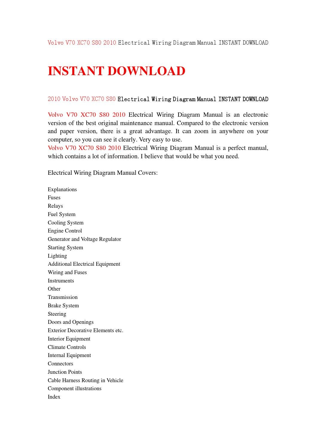 volvo v70 xc70 s80 2010 electrical wiring diagram manual instant download  by kksjenfhsejn - issuu