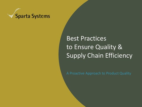 Best practices quality supply chain efficiency by sparta systems best practices to ensure quality supply chain efficiency a proactive approach to product quality fandeluxe Image collections