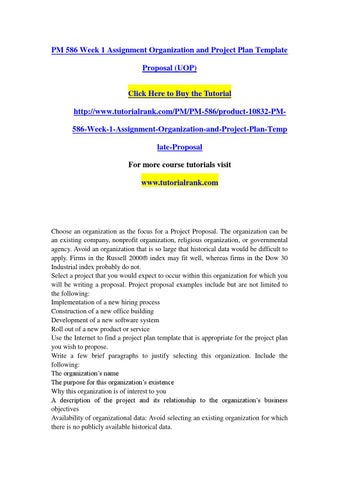 Pm 586 Week 1 Assignment Organization And Project Plan Template