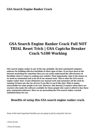 GSA Search Engine Ranker Crack by nosyacre8567 - issuu