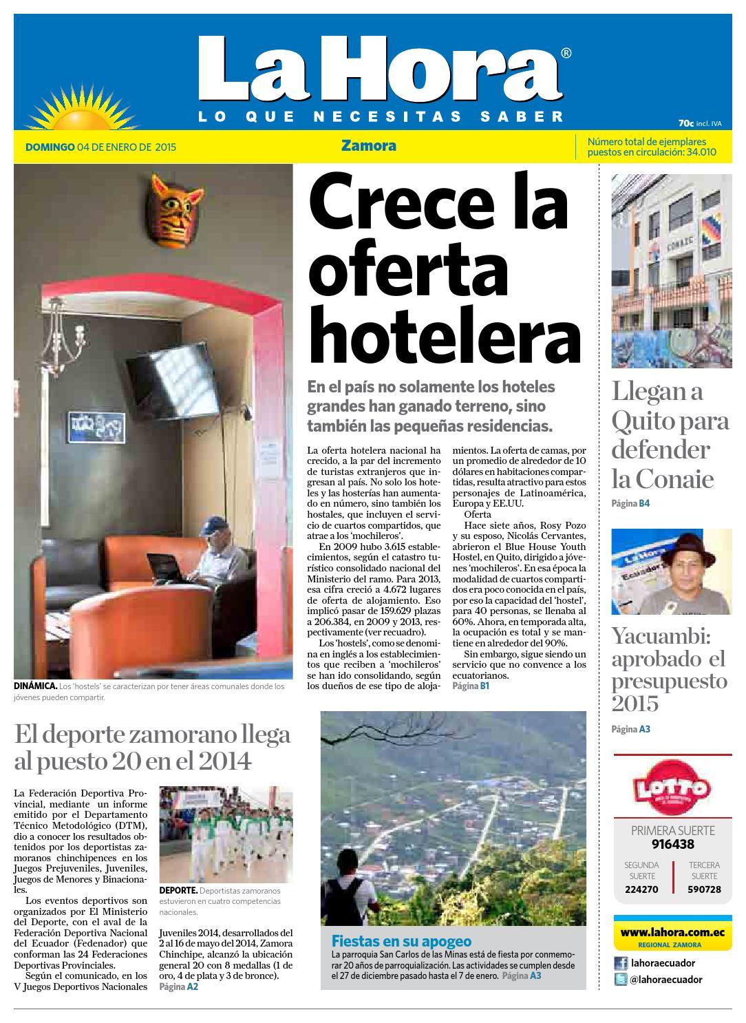 1ae384f53554 Diario La Hora Zamora 04 de Enero 2015 by Diario La Hora Ecuador - issuu