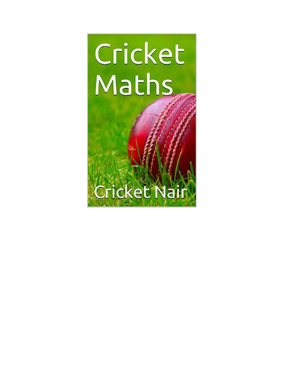 Cricket maths by Prasant - issuu