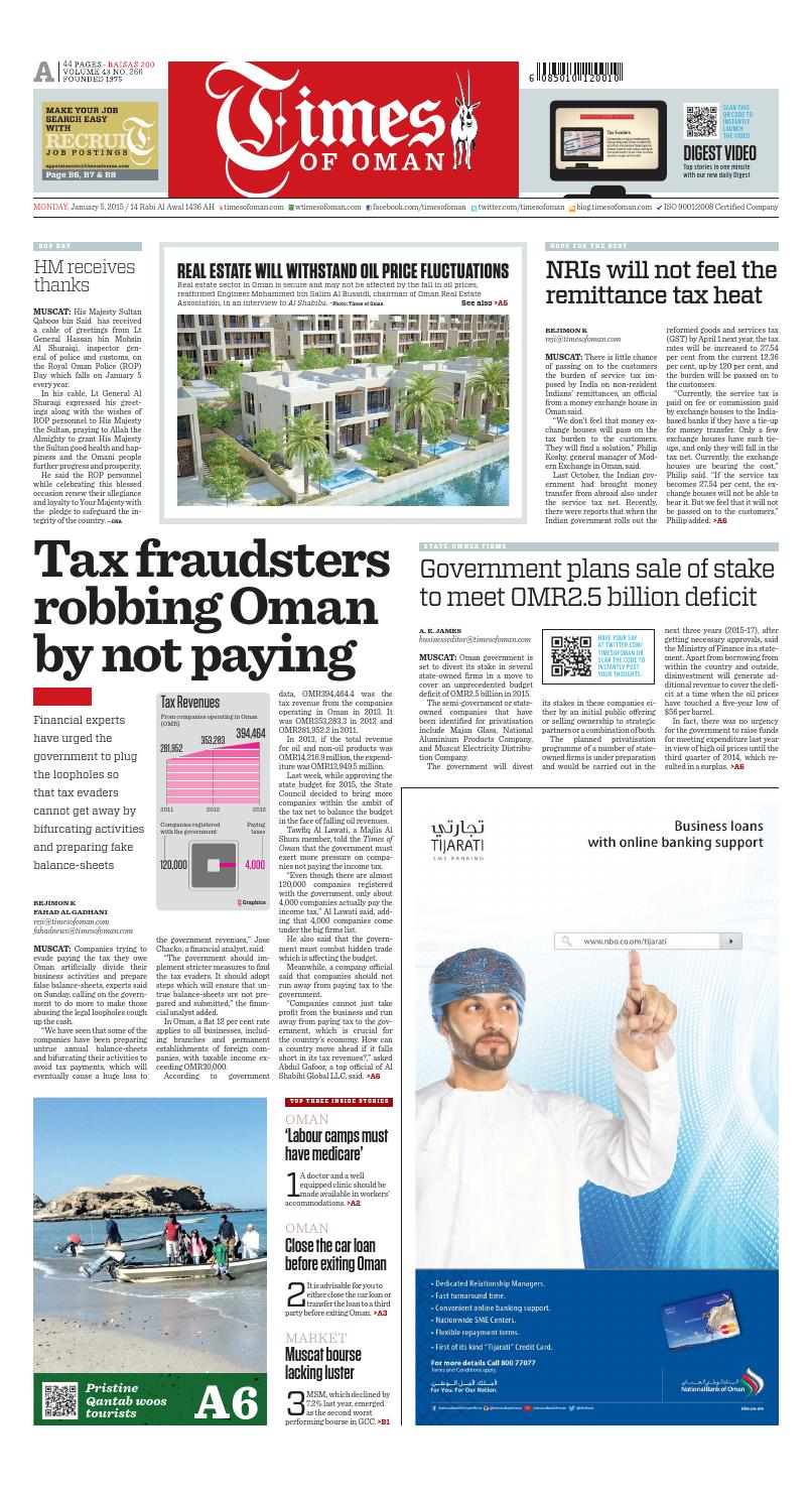 Times of Oman - January 5, 2015 by Muscat Media Group - issuu