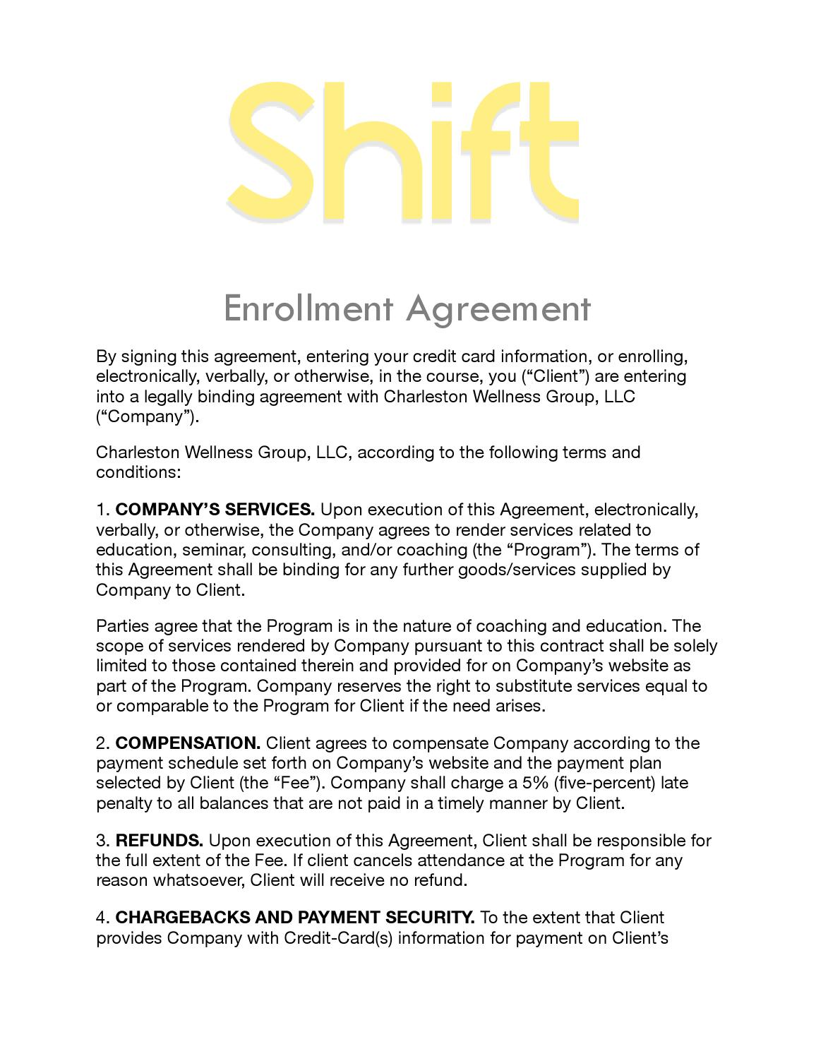 Shift Online Agreement By Lyn Tally Issuu