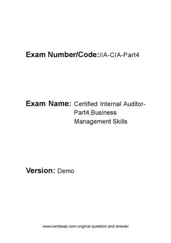 Certasap Iia Cia Part4 Practice Exam Pdf Demo By Height Cold Issuu