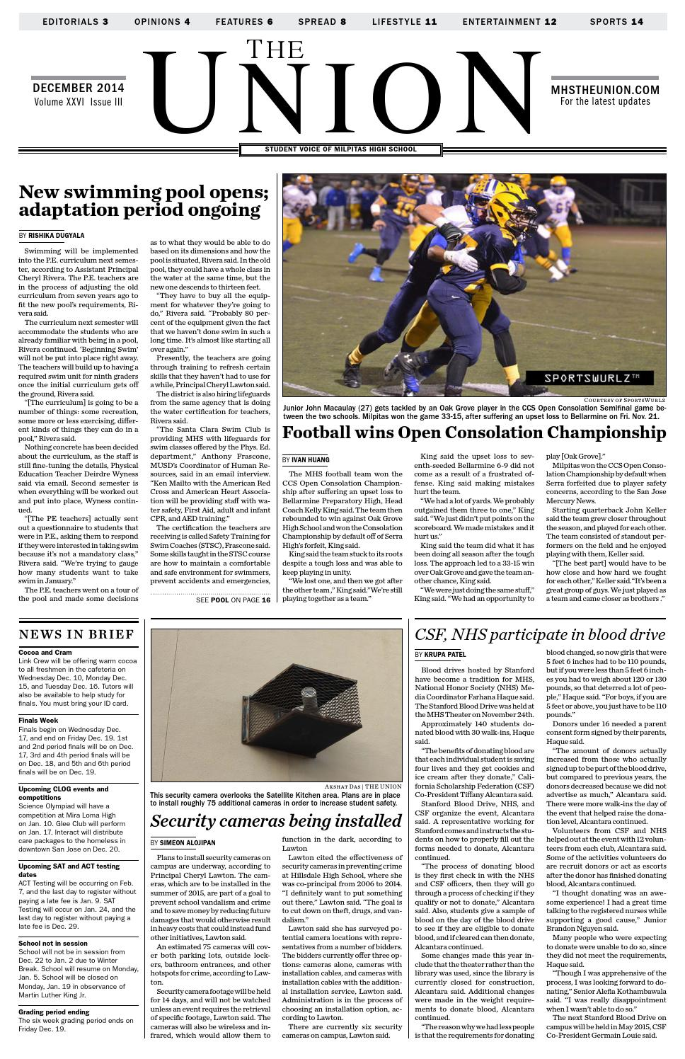 The Union Milpitas High School December 2014 By Mhs Journalism Issuu