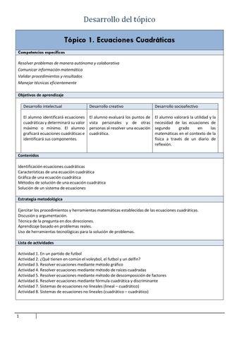 Planeación tópico 1 ecuaciones cuadráticas by Rita Skeeter - issuu