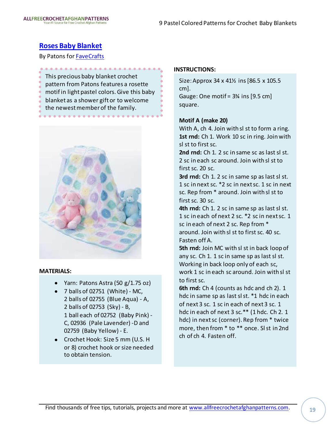 9 pastel colored patterns for crochet baby blankets by Paqui Miranda ...