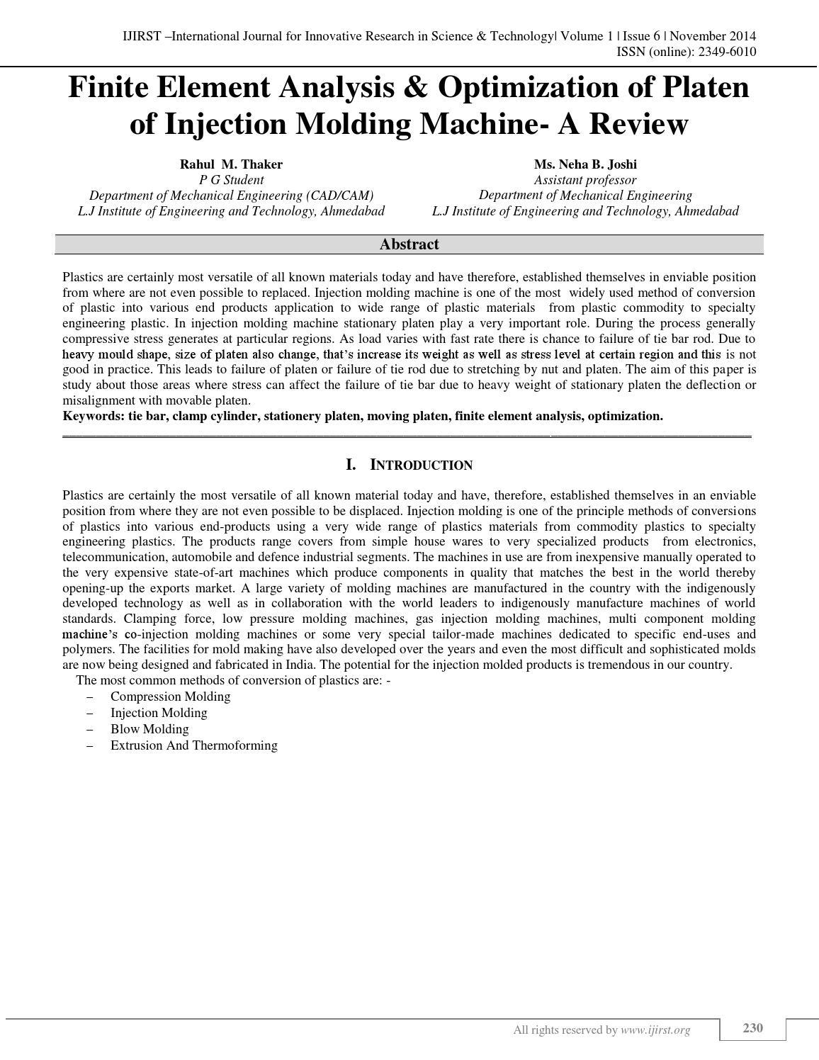 inite Element Analysis & Optimization of Platen of Injection