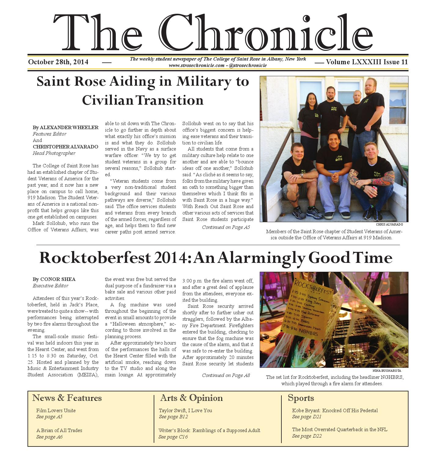 The Chronicle October 28 2014 by The Saint Rose Chronicle