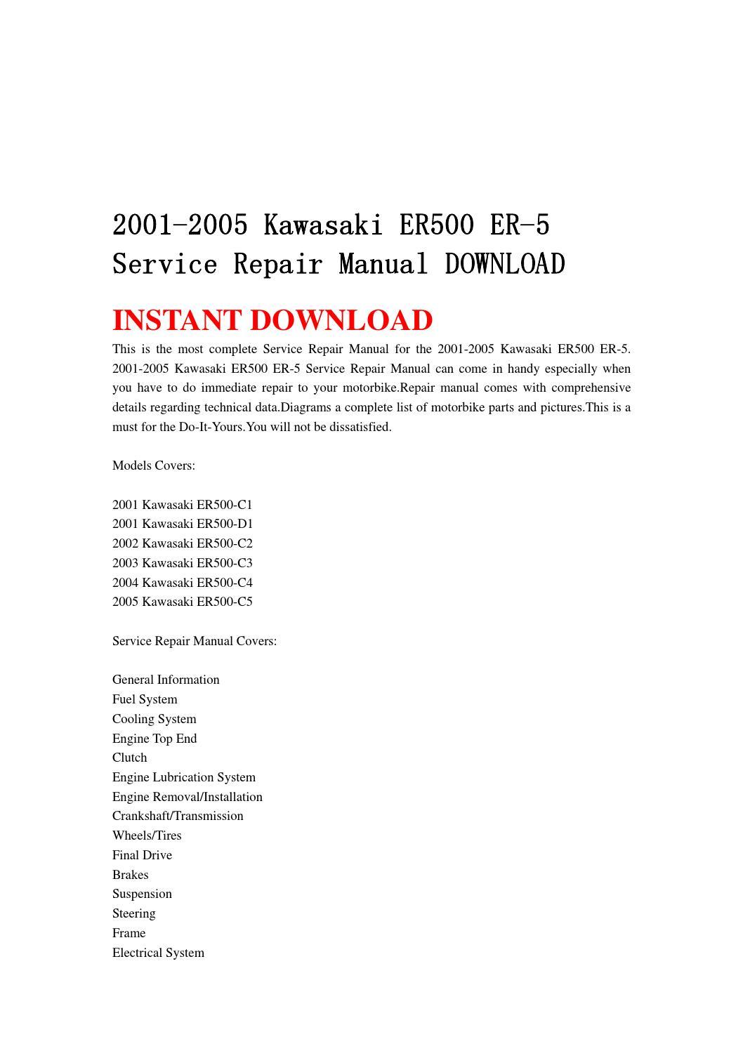 2001 2005 Kawasaki Er500 Er 5 Service Repair Manual