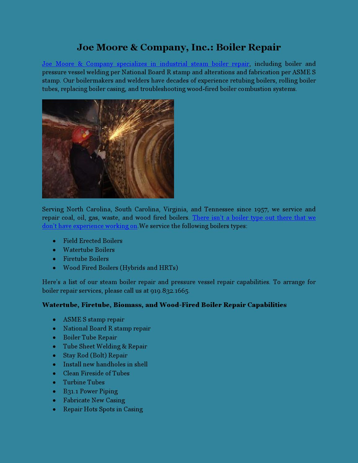 Joe Moore & Company Inc.: Boiler Repair by Dawn Hertz - issuu