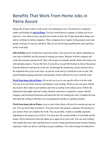 Benefits That Work From Home Jobs In Patna Assure By