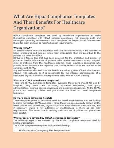 what are hipaa compliance templates and their benefits for healthcare organizations by john. Black Bedroom Furniture Sets. Home Design Ideas