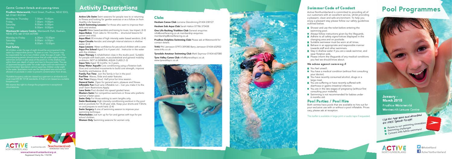 Prudhoe And Wentworth Swim Timetables 2015 By Active Northumberland Issuu