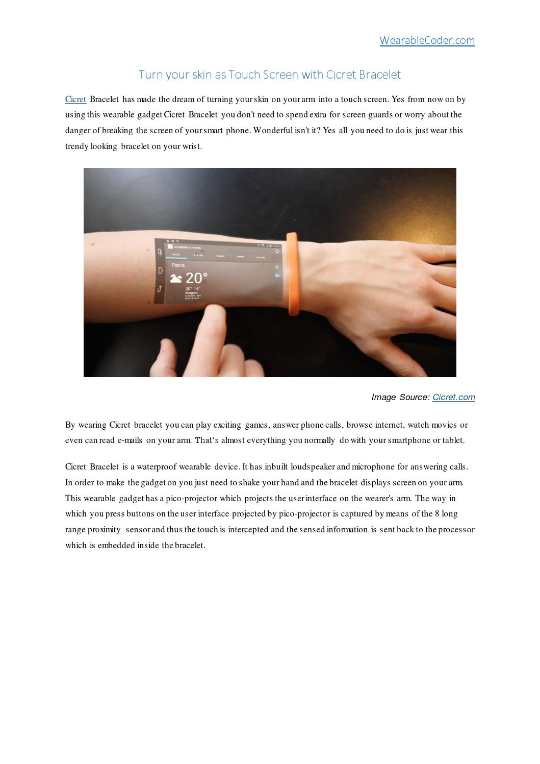 Turn Your Skin As Touch Screen With Cicret Bracelet Wearablecoder Com
