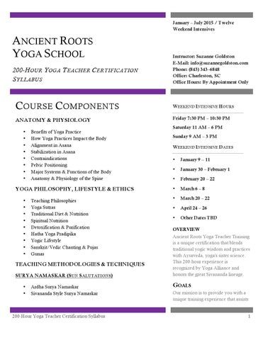 Yoga Teacher Certification - 200 Hour Course Syllabus by Suzanne ...