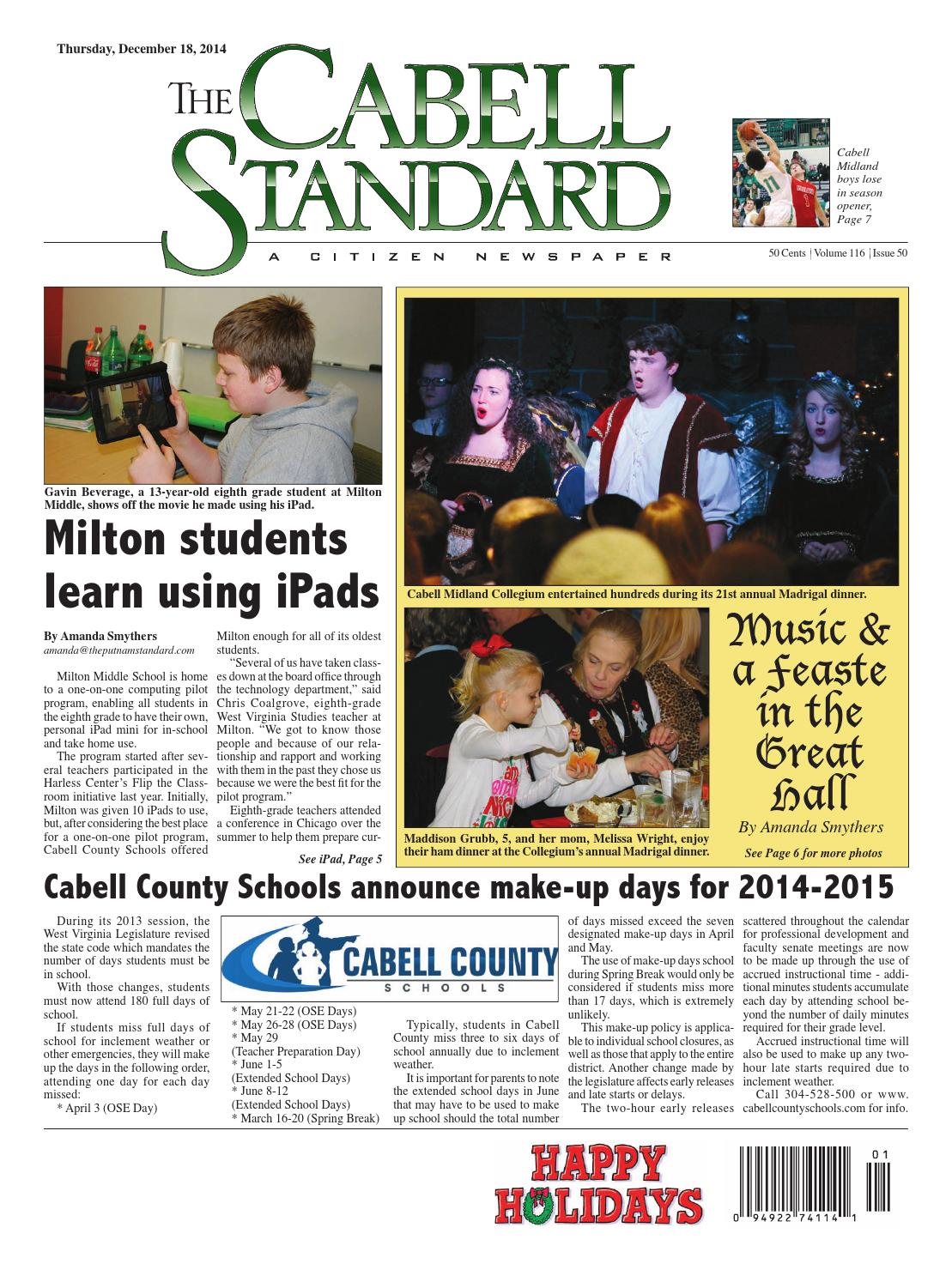 The Cabell Standard, Dec  18, 2014 by PC Newspapers - issuu