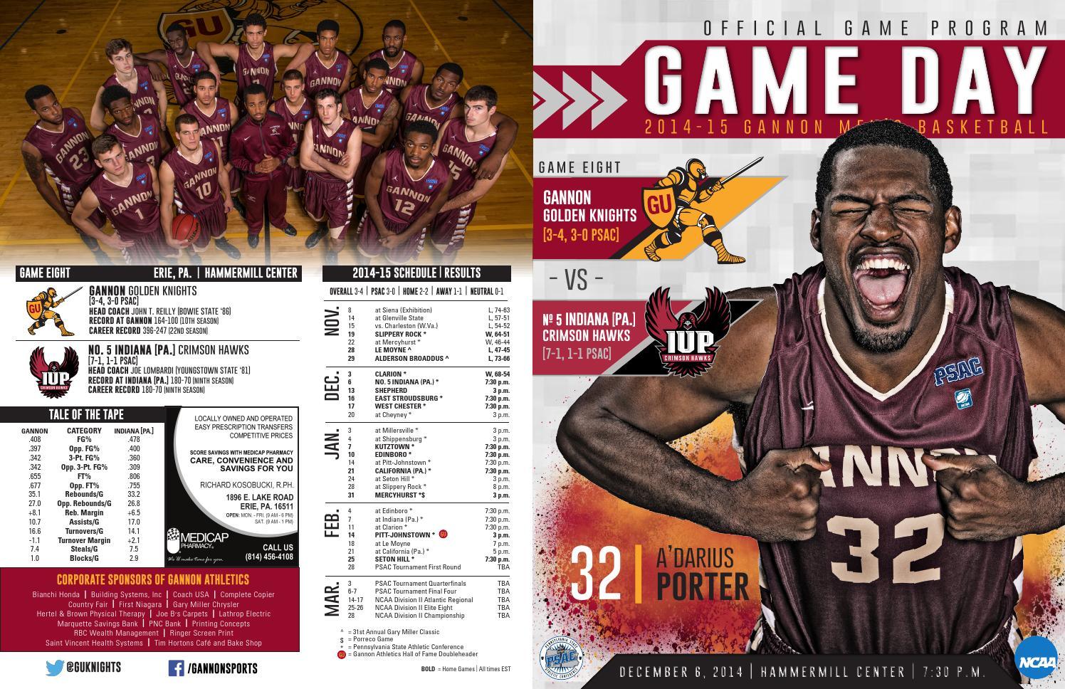 2014-15 Gannon Men's Basketball Game Program by William ...