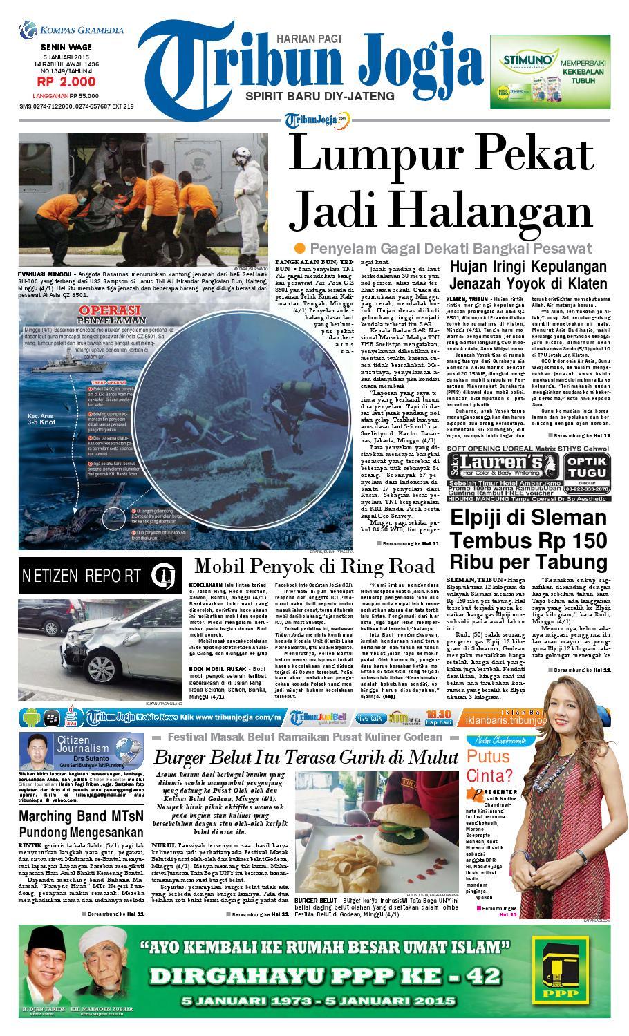 Tribunjogja 05 01 2015 By Tribun Jogja Issuu Produk Ukm Bumn Batik Lengan Panjang Parang Toko Ngremboko