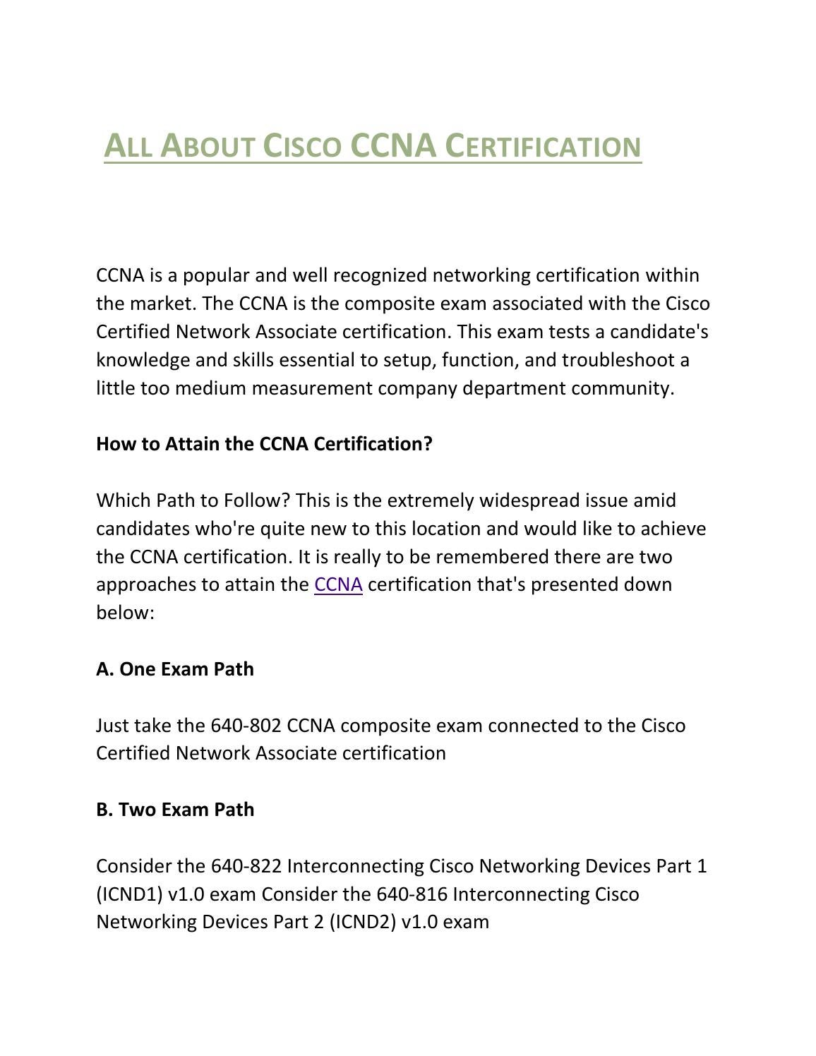 All About Cisco Ccna Certification By Harry John Issuu