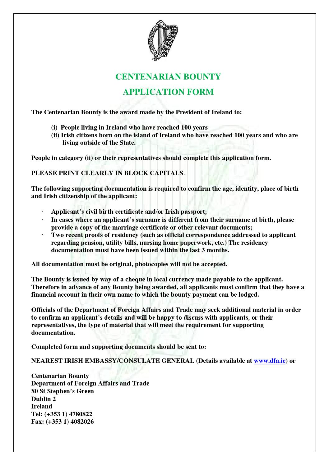 Centenarian Abroad Application Form 2012 By Ras An Uachtarin Issuu
