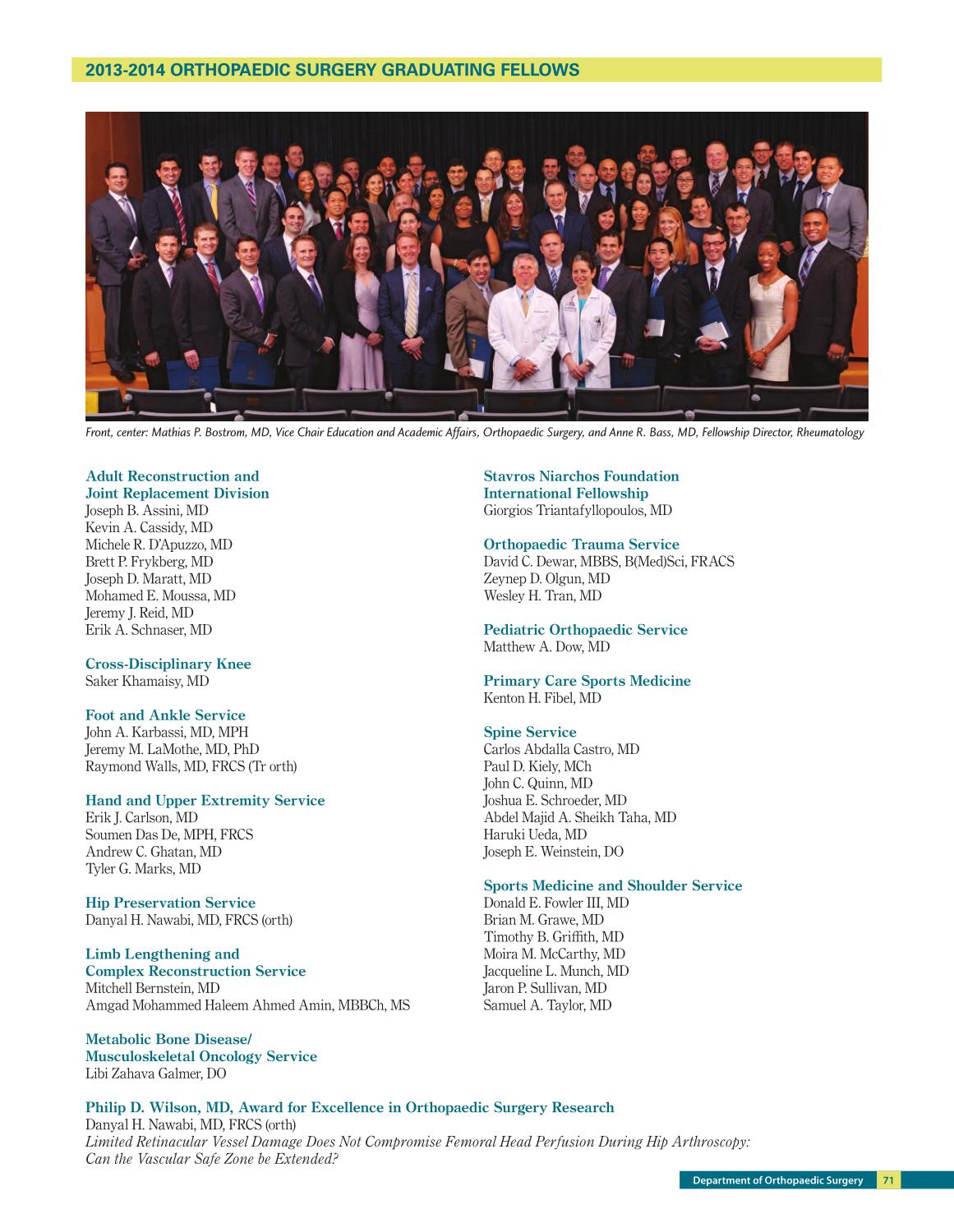 Orthopaedic Surgery 2013-2014 Annual Report - Game Changers by