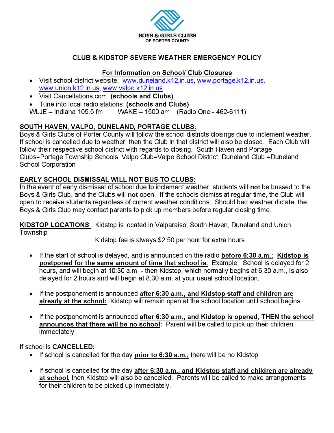 Severe Weather Policy by Boys & Girls Clubs of Porter County