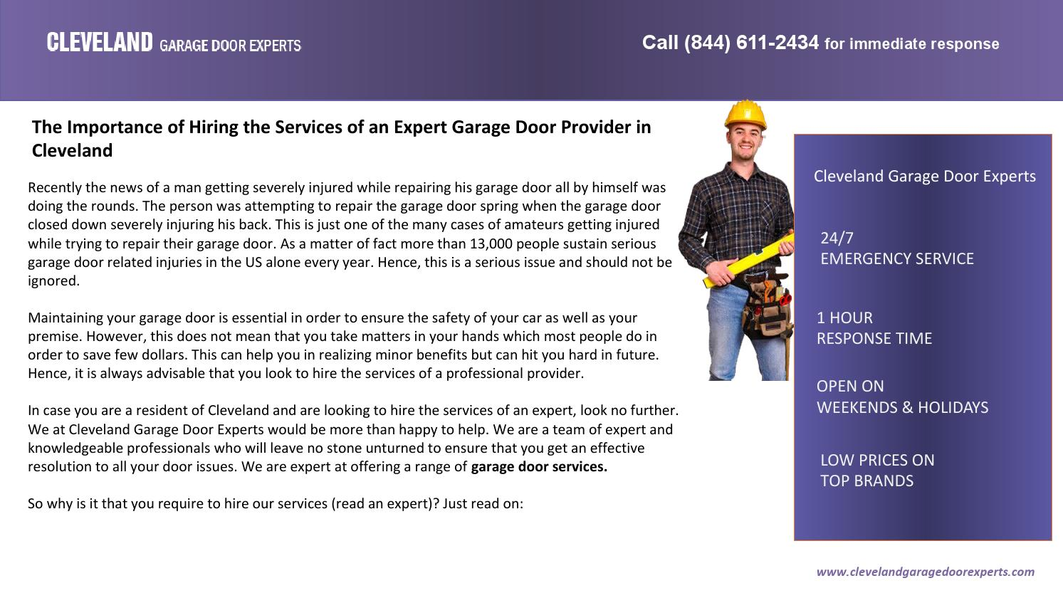 The Importance Of Hiring The Services Of An Expert Garage Door