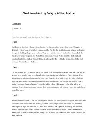 as i lay dying book summary
