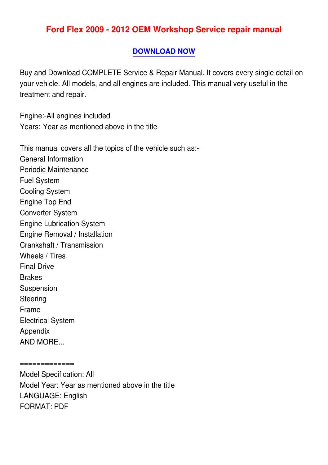 2009 ford flex service manual pdf