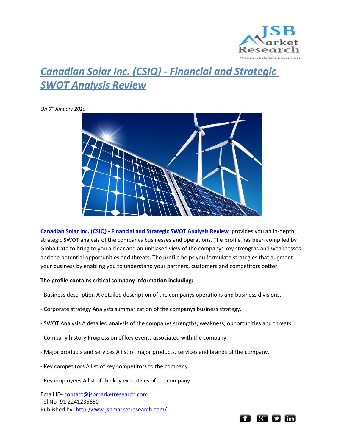 JSB Market Research: Canadian Solar Inc  (CSIQ) - Financial