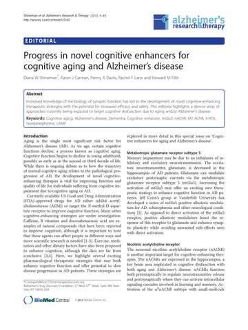 Progress In Novel Cognitive Enhancers For Cognitive Aging And