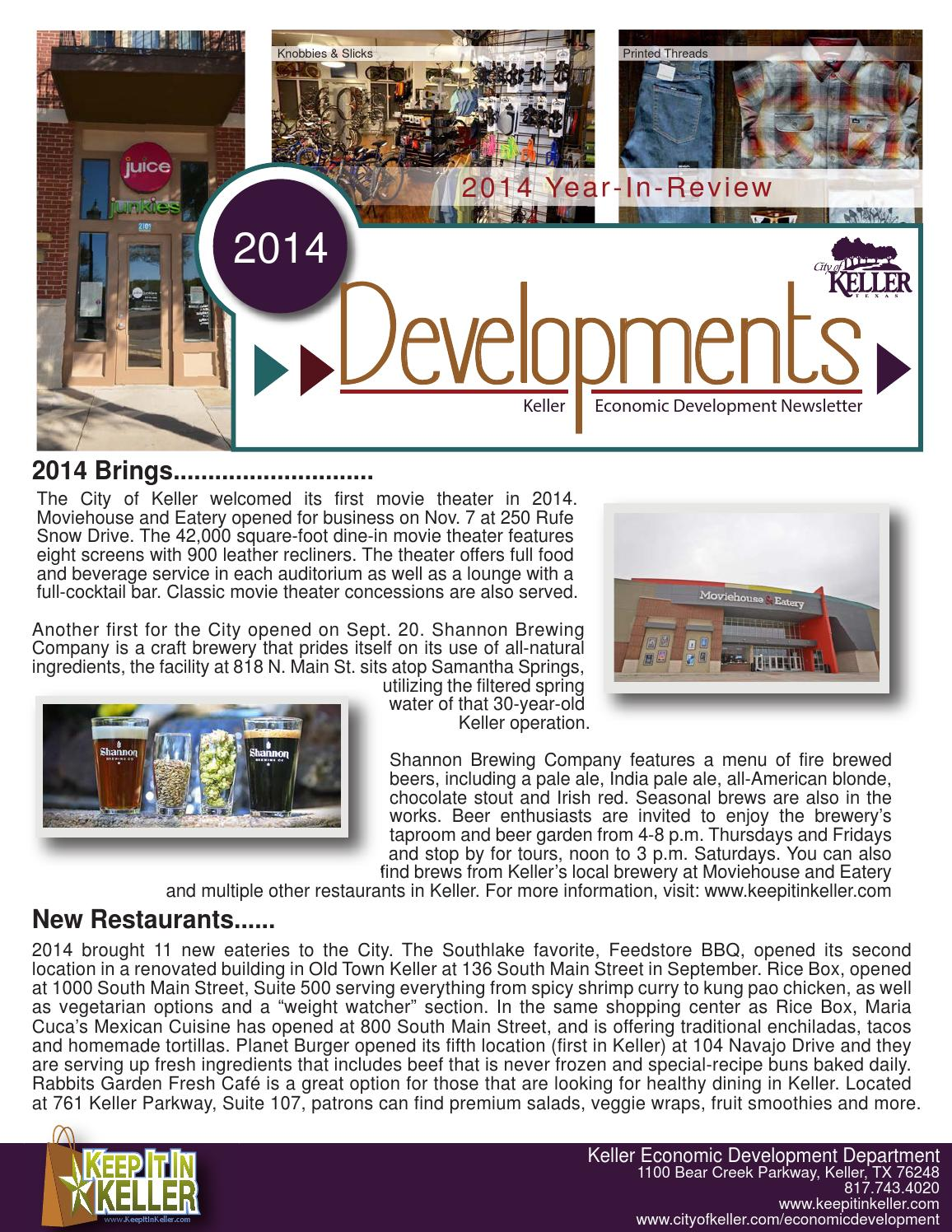 January 2015 - Year in Review Economic Development