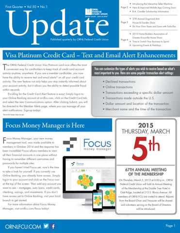 Ornl Update Vol 50 No 1 By Ornl Federal Credit Union Issuu