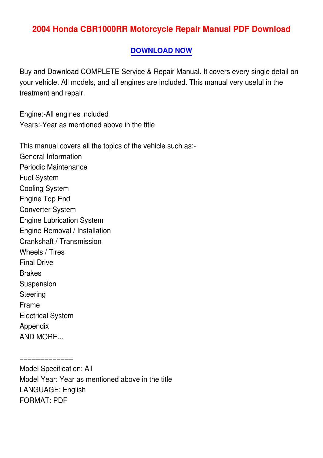 2004 honda cbr1000rr motorcycle repair manual pdf download. Black Bedroom Furniture Sets. Home Design Ideas