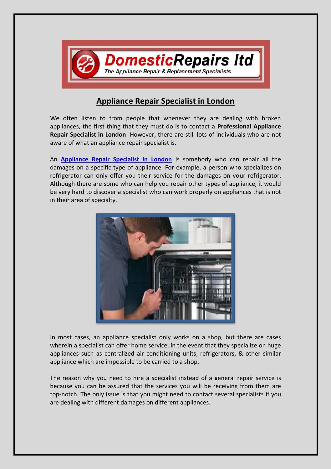 Appliance Repair Specialist in London by Peter Watson - issuu