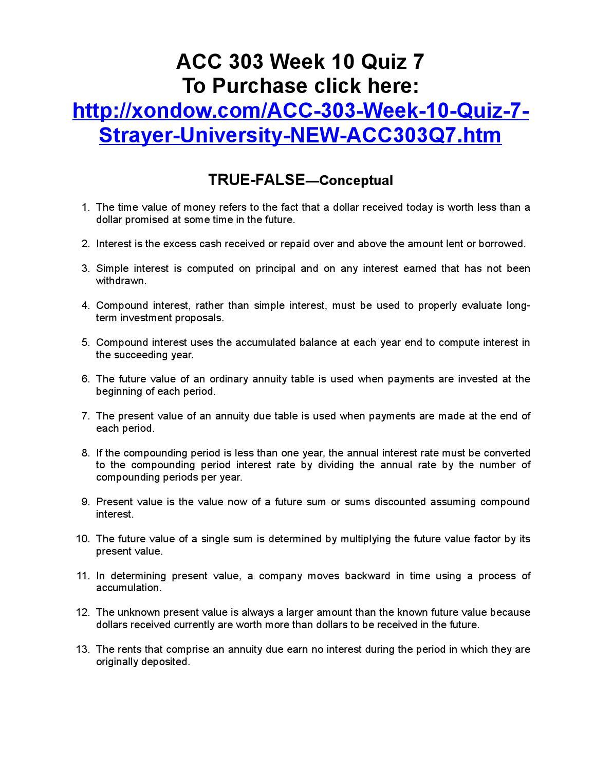 Acc 303 Week 10 Quiz 7 By Mildredsmith456 Issuu