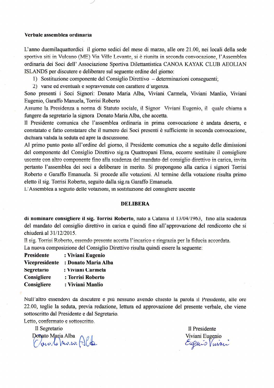verbale assemblea nomina nuovo consigliere 16/3/2014area soci