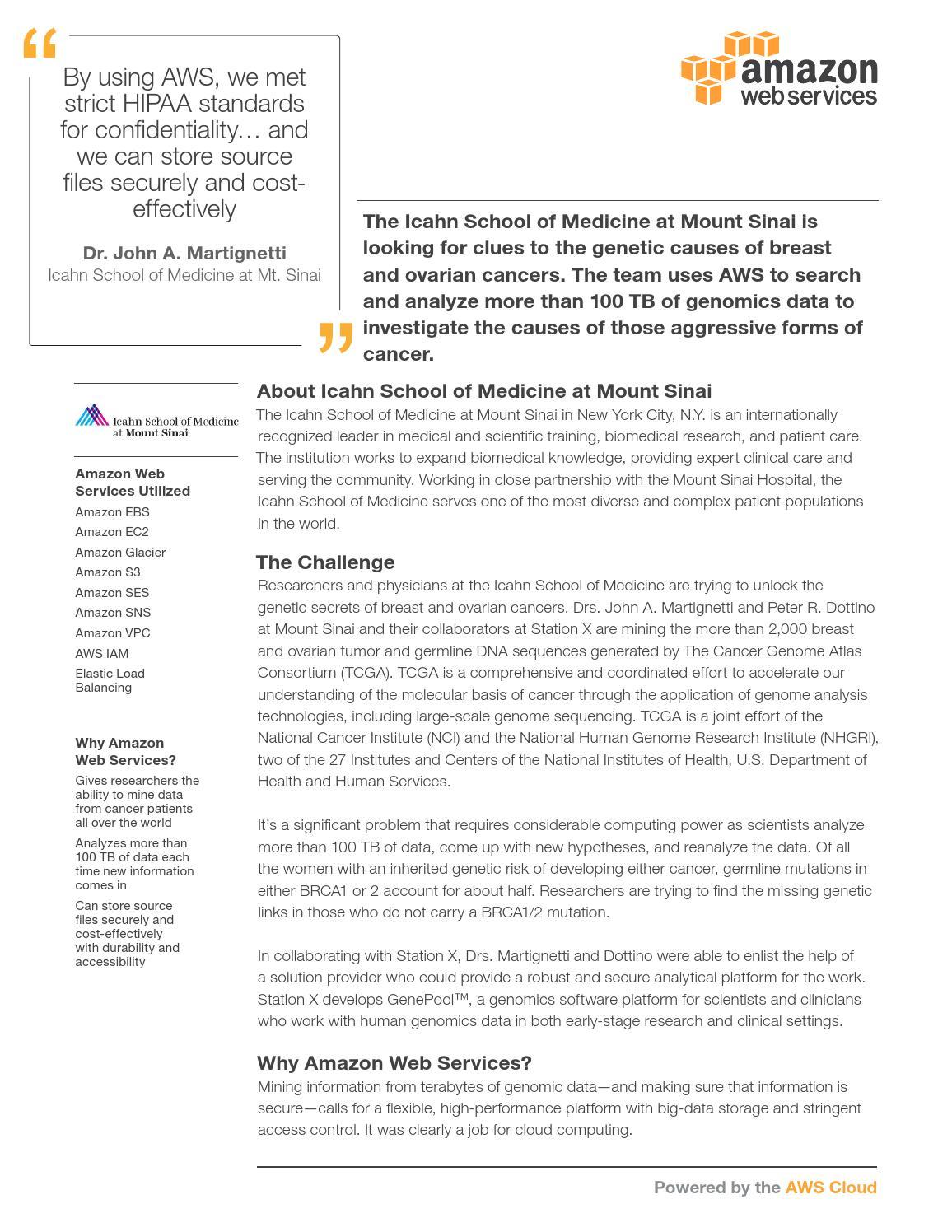 AWS Case Study: Mount Sinai Icahn School of Medicine