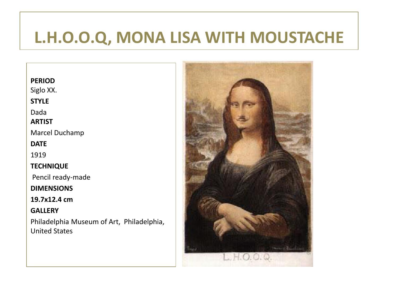 L h o o q, mona lisa wih moustache Marcel Duchamp by ... Dadaism Mona Lisa