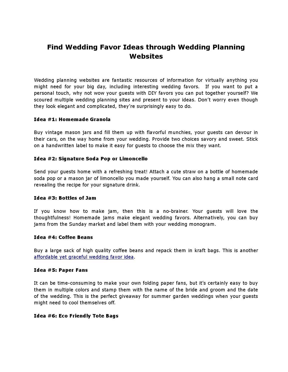 Find Wedding Favor Ideas through Wedding Planning Websites by ...