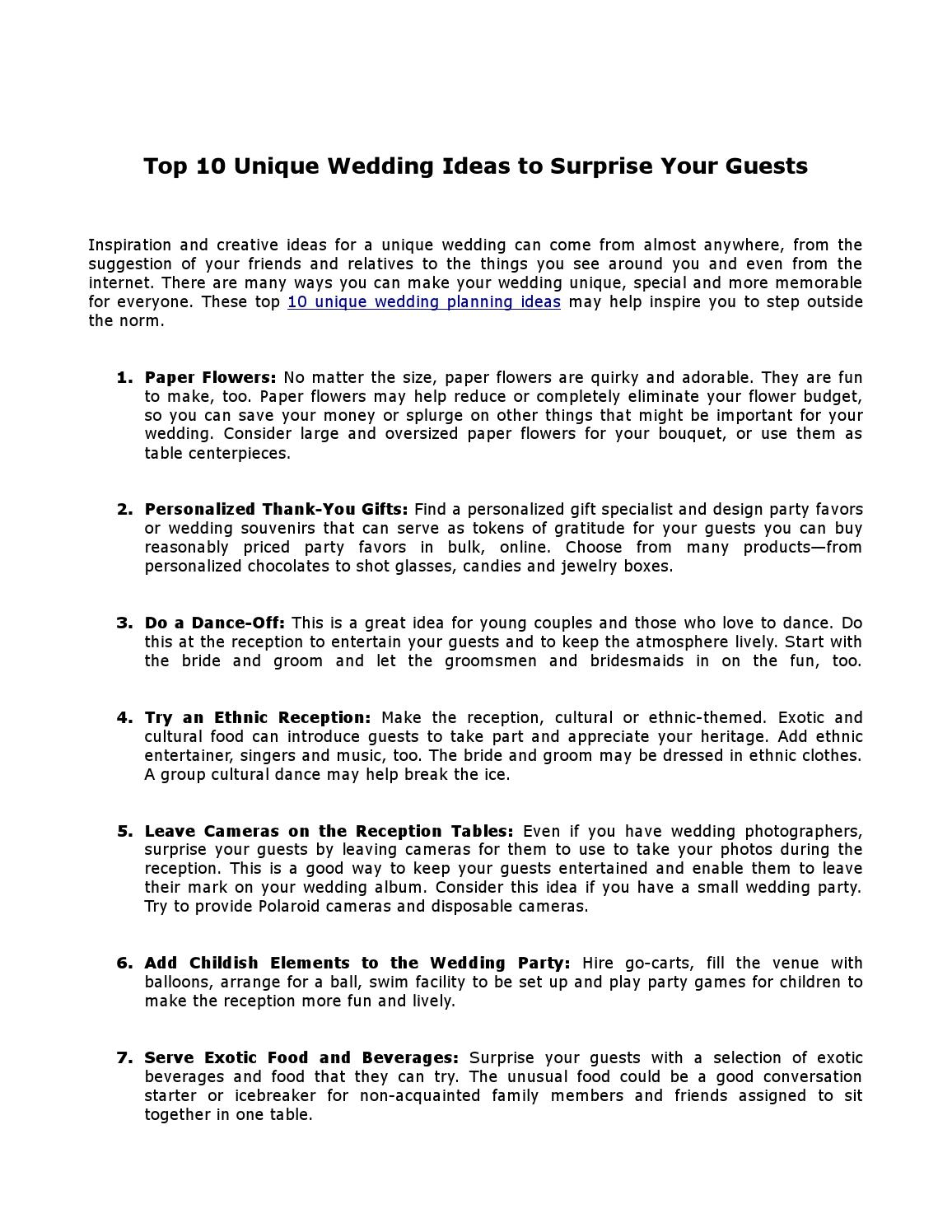 Top 10 Unique Wedding Ideas To Surprise Your Guests By Iwedplanner