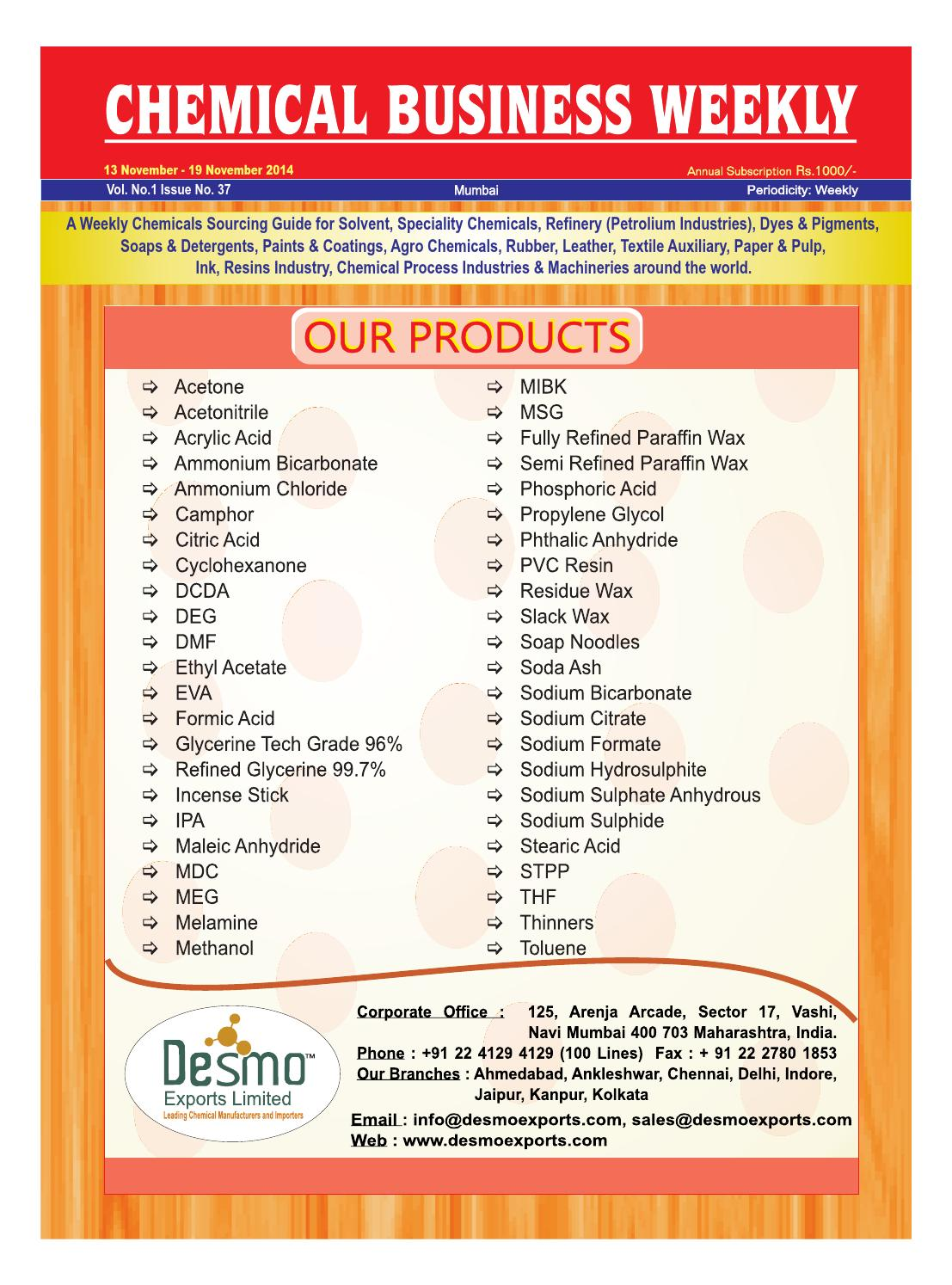 Chemical business weekly 13 nov 19 nov 2014 by The Mazada Pharma