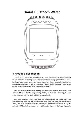 Bluetooth sports smart watch 'smartfit' user manual by