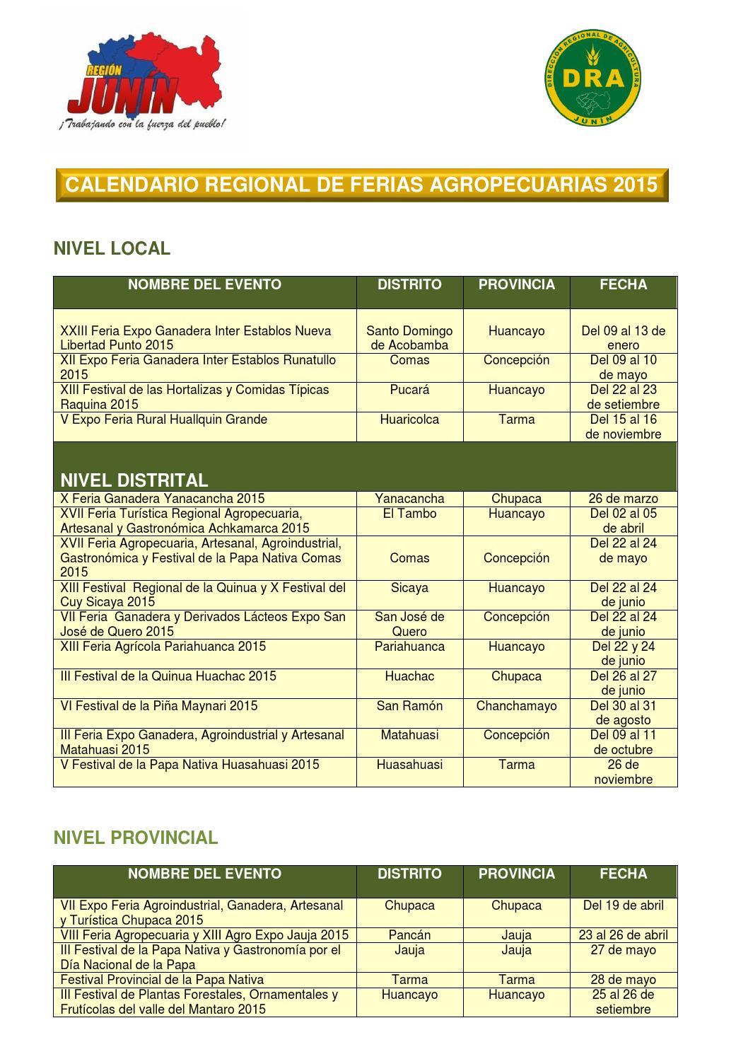 Calendario regional de ferias agropecuarias jun n 2015 by for Calendario ferias